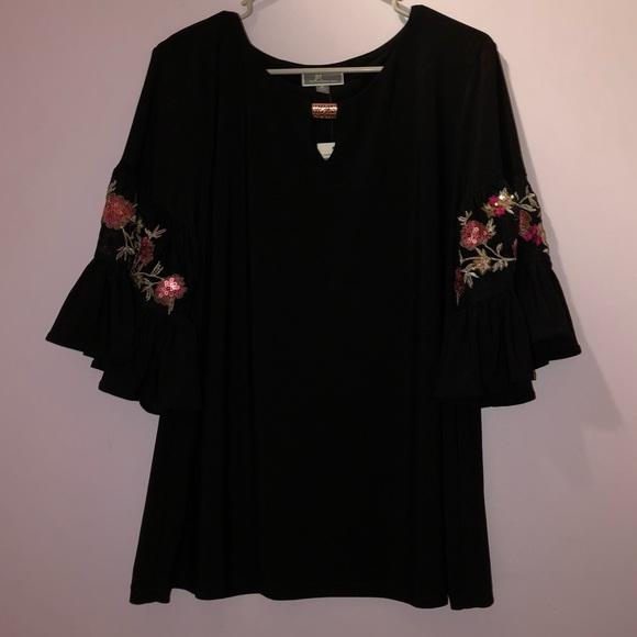JM Collection Tops - JM Collection Flower Sleeved Black Shirt
